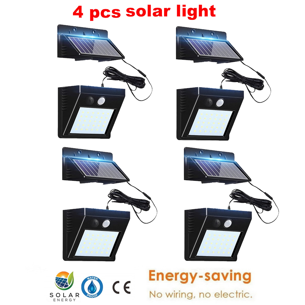 2/4pcs 100/56/30 LED Outdoor Solar Light Waterproof PIR Motion Sensor Emergency Security Light Solar Powered Wall Lamp For Yard