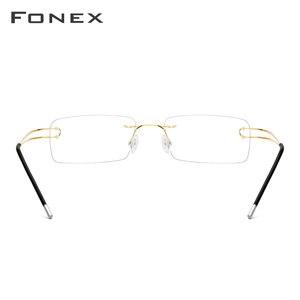 Image 3 - Fonex Titanium Legering Randloze Optische Glazen Frame Mannen Recept Frameloze Brillen Mannelijke Bijziendheid Schroefloos Eyewear 50003