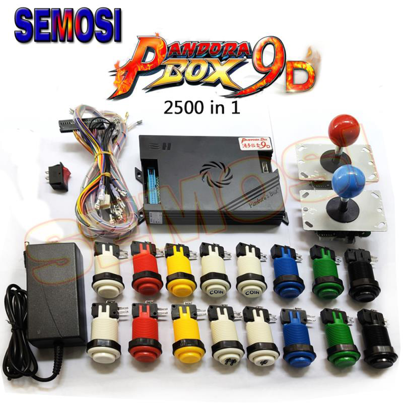 Original Pandora Box 9 9D DIY Kit 1500/2500 In 1 Games Board PCB with Happ Style Arcade Push Button 2 Player Joysticks(China)