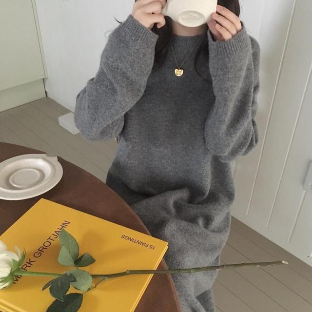 Fionto Vrouwen herfst Winter Lange Trui Jurk Vrouwelijke Lange Mouwen Rechte Gebreide maxi vestidos Plus Size pull sukienki jurken