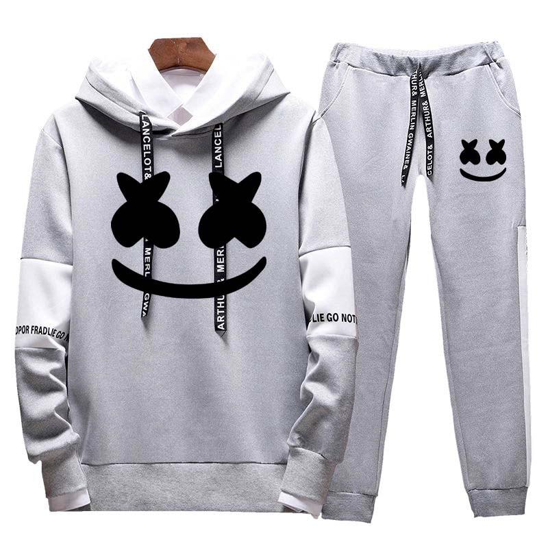 Casual Men's Suit Men's Sweatshirt Pullover Cotton Men's Sportswear Hoodies + Fashion Trousers