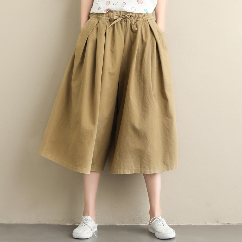 0672 Autumn Solid Color Wide Leg Pants Women Calf length Elastic Waist Plus Size Casual Ladies Trousers Vintage Trousers Female in Pants amp Capris from Women 39 s Clothing