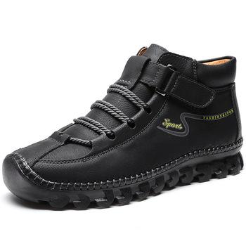 Męskie skórzane buty 2020 skórzane męskie botki jesienne buty męskie buty modne męskie przypadkowi buty do kostki męskie buty rozruchowe tanie i dobre opinie HSXLZK Podstawowe Skóra Split ANKLE Stałe Dla dorosłych Krótki pluszowe Okrągły nosek RUBBER Zima Mieszkanie (≤1cm)