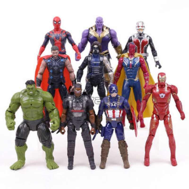 Regalo di natale Marvel Avengers 3 Infinity War Action Figure Giocattoli Set Hulk Captain America Spiderman Thanos Iron Man Hulkbuster