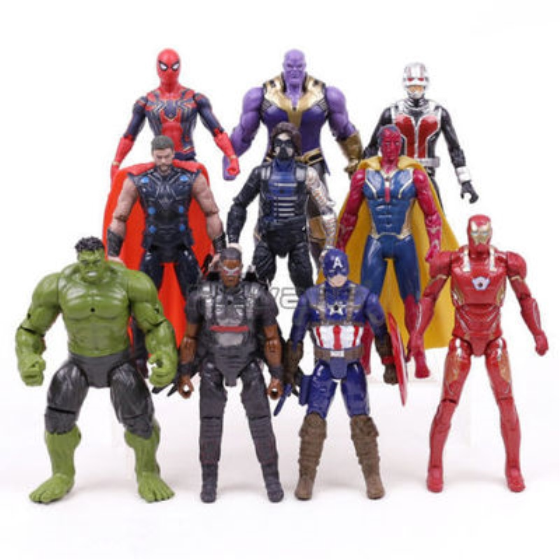 Christmas Gift Marvel Avengers 3 Infinity War Action Figures Toys Set Hulk Captain America Spiderman Thanos Iron Man Hulkbuster