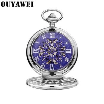 OUYAWEI oryginalny zegarek męski Top marka luksusowe mechaniczne ręcznie nakręcany zegarki mechaniczne kieszonkowe i Fob Steampunk mężczyźni zegar Relogios tanie i dobre opinie CN (pochodzenie) Mechaniczna Ręka Wiatr STAINLESS STEEL ROUND ANALOG Top Brands Fashion Mechanical Pocket Fob Watches