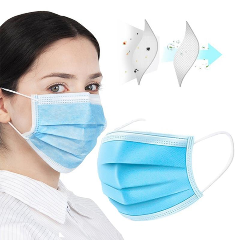 100pcs 3 Layer Mask Dust  Masks Disposable Face Masks Elastic Ear Loop Safety Dust Mask For Healthy Fast Delivery 30%