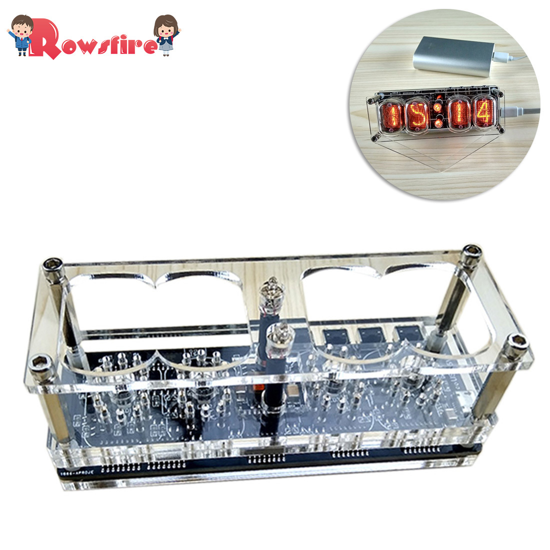 DIY Glow Tube Clock Base Four Digital Glow Tube Clock For Glow Tube (No Glow Tube ) -Basic /Advanced Version
