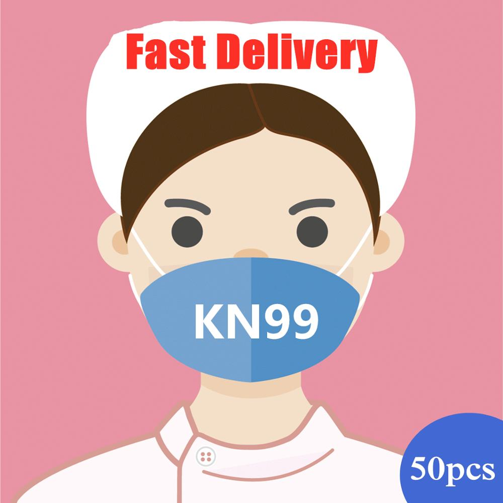 50pcs KN99 3 Layers Mask Bacteria Proof Anti Infection KN99 Masks Particulate Mouth Respirator Anti PM2.5 Safety Protective Mask