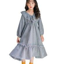 4 6 8 10 12 14 16 yrs kids & teenager girls long sleeve plaid cotton princess dress autumn elegant children ruffle maxi dress