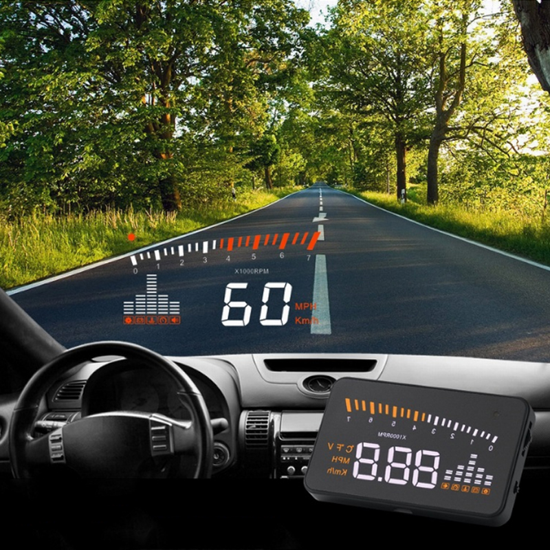 Universal Hud Car Head Up Display Projection Speed Warning Fuel Speedometer Temperature Water On Windshield For Car Hud