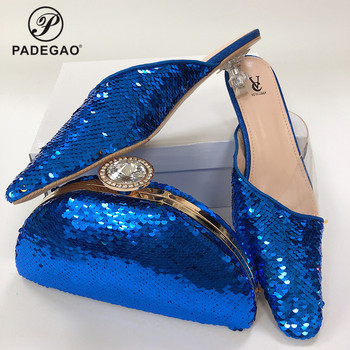 African Sexy Style Shoes with Matching Bag for Wedding Italian Silver 2020 Shoe and Matching Bag with Shinning  in Blue
