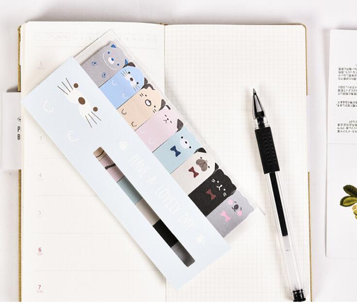 Kawaii gato & cão almofada de memorando n vezes notas pegajosas para fazer lista planejador etiqueta página bandeira papelaria bonito escola material de escritório