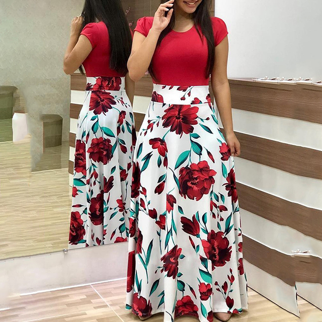 Two Pieces Dress Women Short Sleeve Robe Long Flower Floral Dress Fashion Long Women New Female Summer Beautiful A-Line Dresses 1
