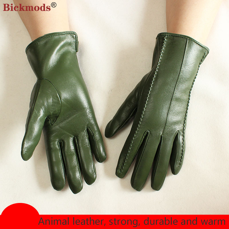 Color Leather Gloves Women's Fashion Velvet Lining Outdoor Motorcycle Riding Autumn and Winter Warmth Ladies Sheepskin Points