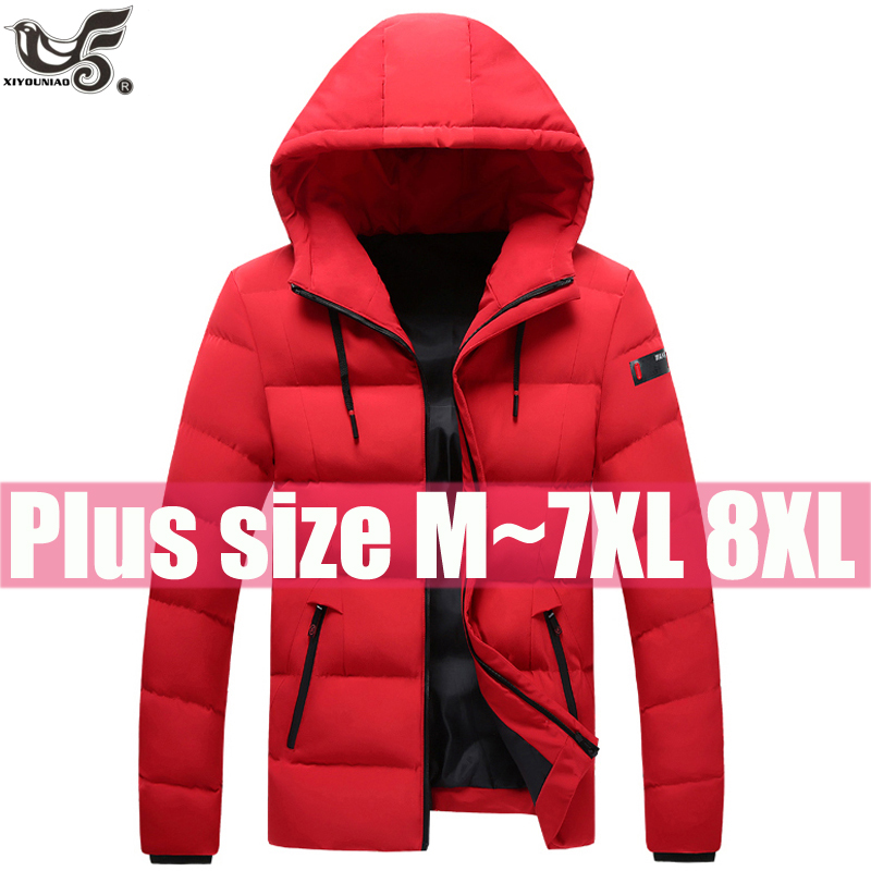 Plus Size L~7XL 8XL Winter Jacket Men Thick Warm Casual Windbreaker Parka Man Hooded Outwear Cotton-padded Overcoats