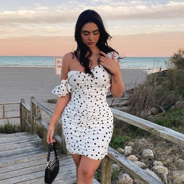 Justchicc Black White Polka Dot Dress One Shoulder Short Sleeve Ruffles Summer Dress Ladies Ruched Mini Dress Women Vestido 2020 3