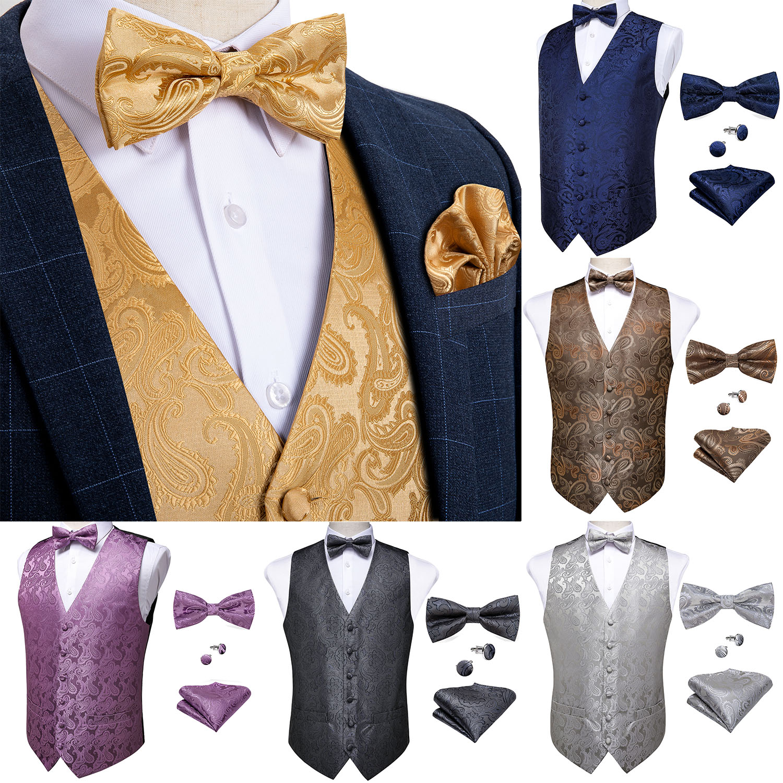 Men's Classic Gold Suit Vest Men Paisley Waistcoat Silk Bow Tie Handkerchief Cufflinks Set For Party Wedding Vests DiBanGu