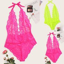 Low Price Loss Sale Women Sexy Lace Deep V-neck Jumpsuit Lingerie Romper Backless Bodysuit Sleepwear Dress For Sex Beautiful(China)