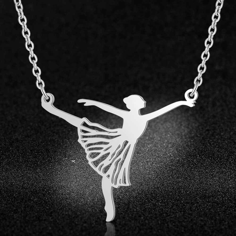 100% จริงสแตนเลสกลวงขนาดใหญ่ Ballerina บัลเล่ต์สร้อยคอบุคลิกภาพแนวโน้มเครื่องประดับเครื่องประดับสร้อยคอของขวัญพิเศษ