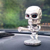 Skull Fighter Car Dashboard Decor Shaking Head Toys Nodding Bobblehead Figures Dolls Auto Accessory Interior Car Ornaments Gifts