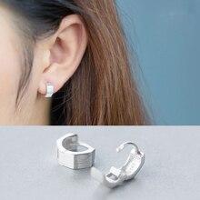 La Monada Hoop Earrings For Women Silver 925 Brushed Square Fine Jewelry Sterling