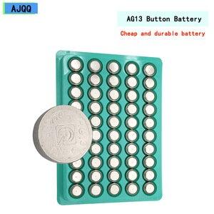 Дешевые 100 шт. 1,5 V Ag13 G13 Lr44 Щелочная батарейка-кнопка LR1154 SR44 A76 357A 303 357 Lr 44 монета Часы с калькулятором игрушка батареи