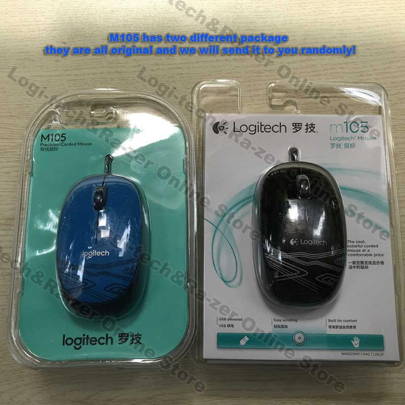 Logitech M105 Kawat Mouse untuk Mac OS/Windows dengan 1000 Dpi Kabel Mendukung Verifikasi Resmi