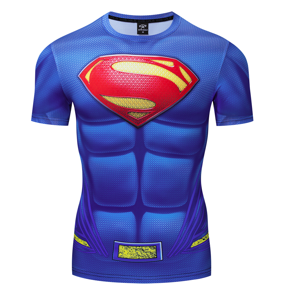 <font><b>3d</b></font> <font><b>Shirt</b></font> Superman Deltoid Muscle Chest <font><b>Sexy</b></font> Muscle Man Clothes Keep Strong Fit Cosplay Tops Marvel Captain tight Skin Tees image