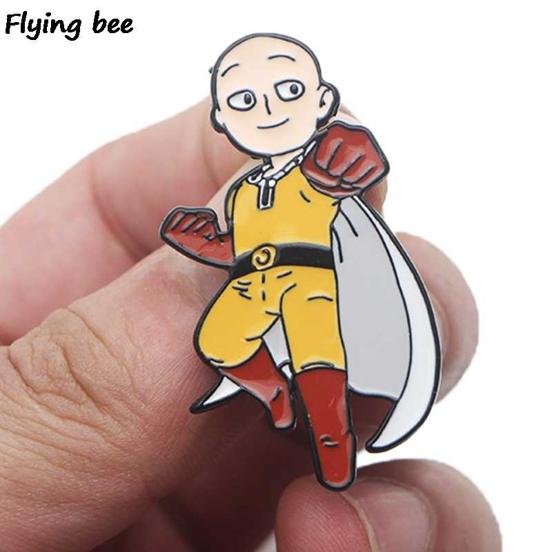 Flyingbee Satu Pukulan Man Fashion Pin Anime Bros dan Enamel Pin Lencana Kerah Pin Pakaian Topi Pin untuk wanita Pria X0450