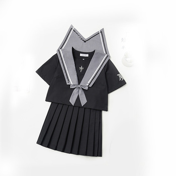Jk Suit Uniform Cute Girl Daily Sailor Dress Jpanese Kawaii Preppy Suit Exuisite Embroidery Top Long Short Pleated Skirt