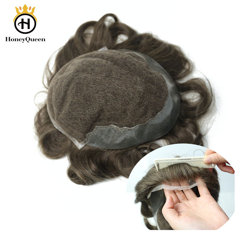 Durable Toupee Men Lace Front With PU Natural Looking 100% European Human Hair Toupee Replacement System 6# Color Remy Hair
