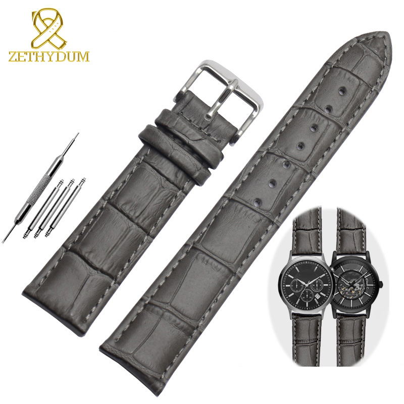 Genuine Leather Bracelet Gray Color Top Layer Cowhide Bamboo Watch Strap For Men Or Women Watchband 18mm 20mm 22mm Watch Band