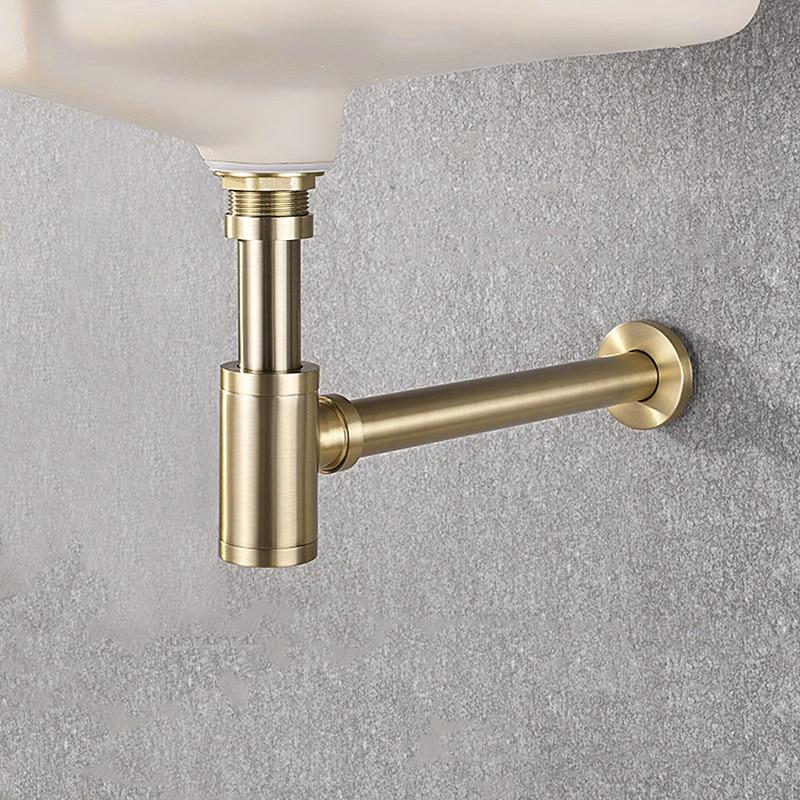 Высококачественная латунная раковина, сливная настенная водопроводная труба ловушка для умывальника, ловушка для раковины в ванную комнату, черная/матовая Золотая/хромированная|Стоки| | АлиЭкспресс