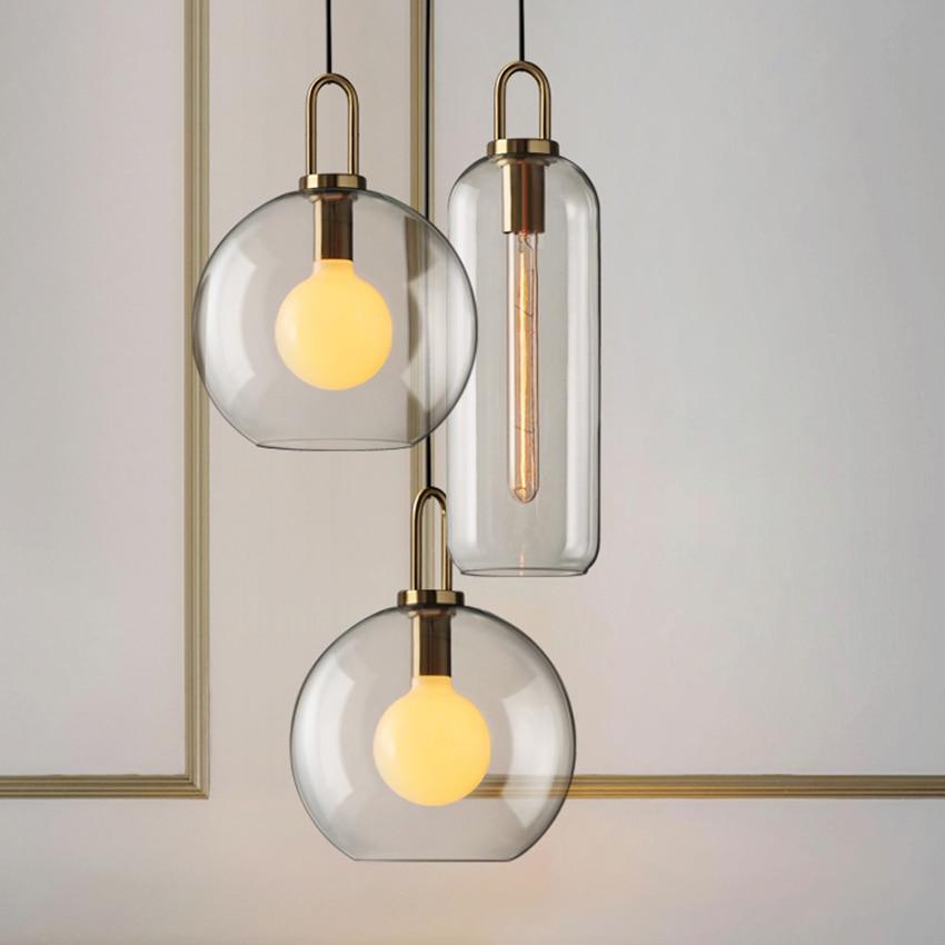 Modern Light Luxury LED Glass Pendant Lights Lighting American Retro Cafe Bar Lofe  Living Room Lamp Bedroom Decor Light Fixture
