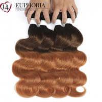 Pelo humano brasileño ondulado 1B/4/30, 3 mechones de cabello Remy de color marrón, rojo y Rubio, extensión de tejido EUPHORIA