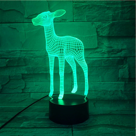 3D LED Acrylic Deer Light Colorful Changing Touch Switch Table Lamp Remote Control Night Light Home Bedroom Decor 522 image