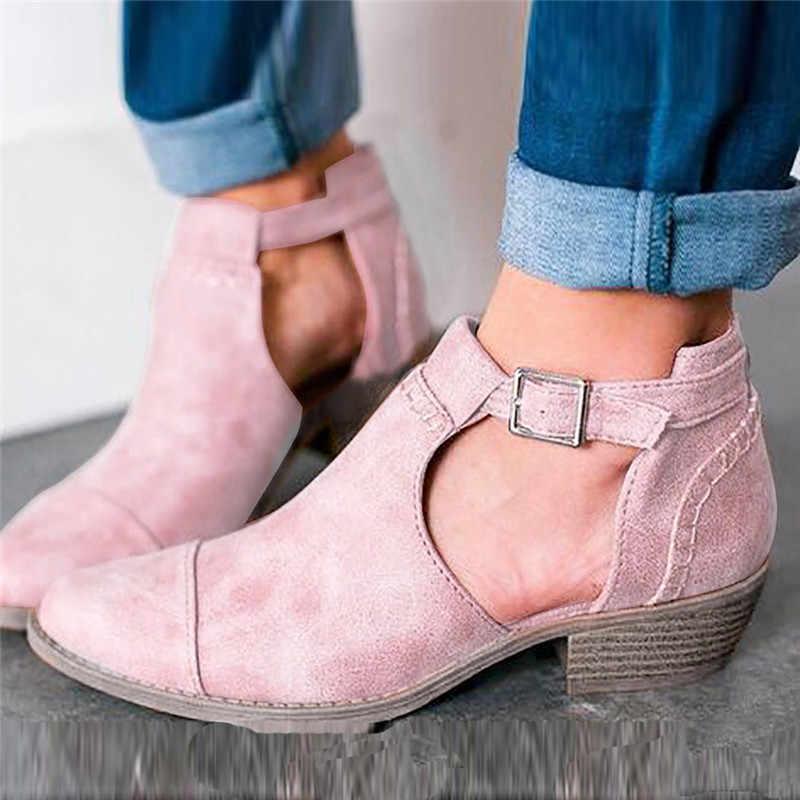 Botas Med Topuklu yarım çizmeler Mujer Pembe Vintage Sivri Burun Toka Askı rahat ayakkabılar Sonbahar Artı Boyutu Deri Çizmeler Kadın #45
