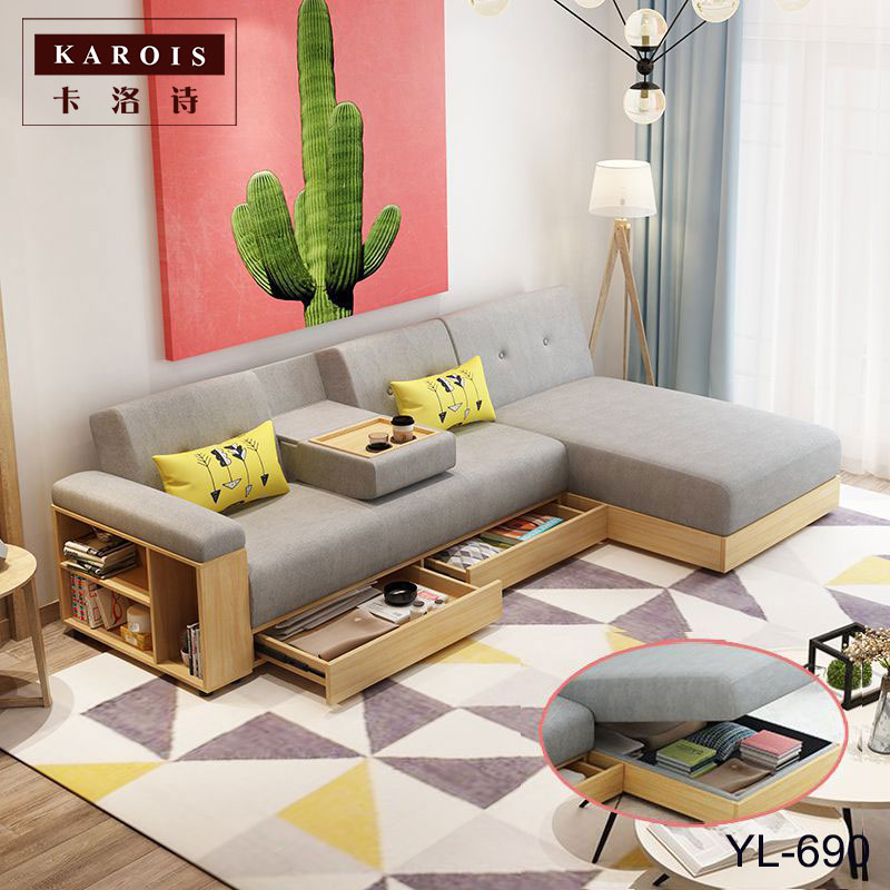 fabrickarois sofa l shaped corner with chaise longue nordic living room can store storage function