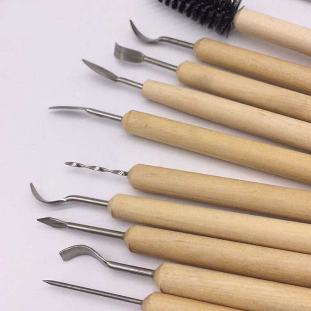 42pcs Pottery /& Polymer Clay Tools,Steel Tip Tools with Wooden Handles All In One Sculpting Set for Carving,Modeling,Cuting,Scraping,Brushing,Smoothing and More,Suitable for Beginners and Experts