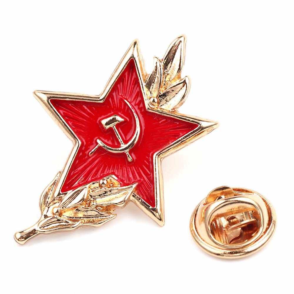 Liên Xô Biểu Tượng Men Pin Chiến Tranh Lạnh Xô CCCP Sao Đỏ Búa Liềm Thổ Cẩm Tặng Biểu Tượng Huy Hiệu Nút Lưng Pin Dành Cho áo Khoác Nón Tặng Bro