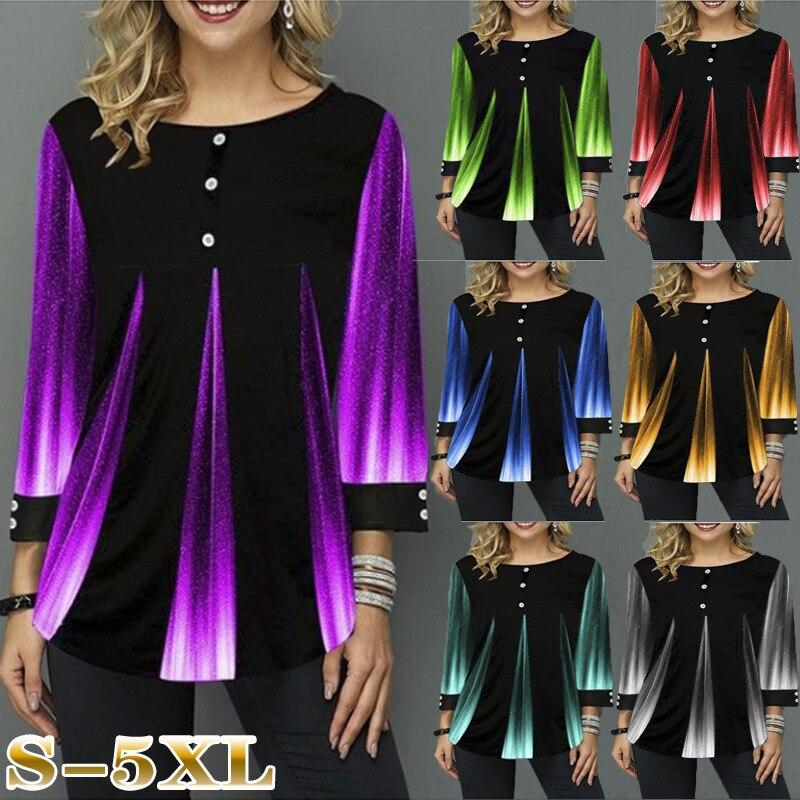 5XL Большие размеры женские футболки с длинным рукавом градиентным принтом женские весенние летние футболки повседневные свободные топы ра...