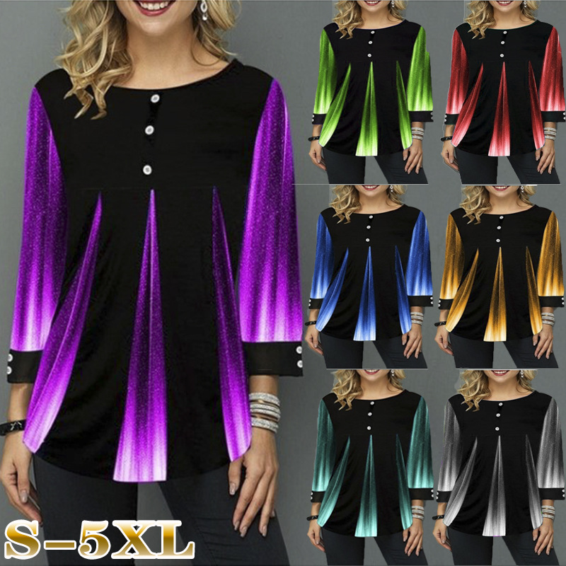 5XL Large Size Ladies Long Sleeve Gradient Print Splicing Tee Shirts Women Spring Summer T-Shirt Casual Loose Tops Plus Size 4XL