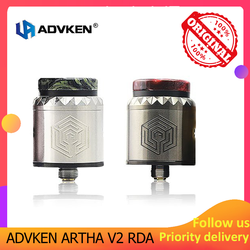 Advken Artha V2 RDA 24mm Vape Tank With 810 PEI Drip Tip Rebuildable Atomizer For Electronic Cigarette 510 Thread Box Mod