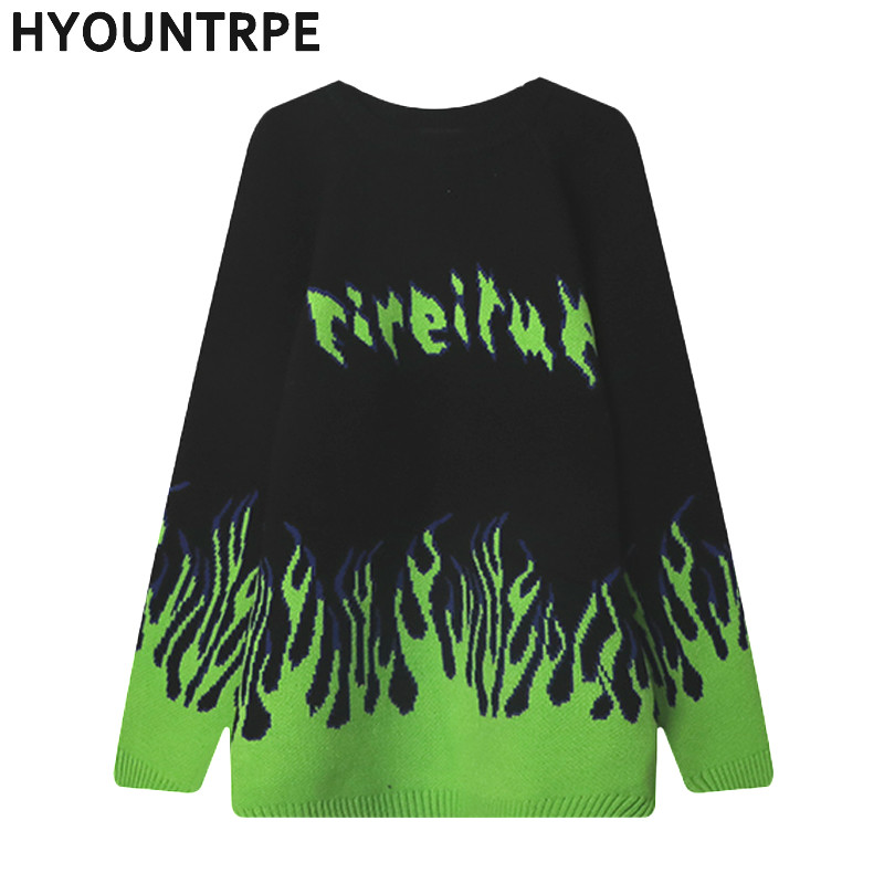 Men Hip Hop Sweater Pullover Streetwear High Street Letter Fire Knitted O Neck Sweater Winter Autumn New Loose Sweaters Cotton
