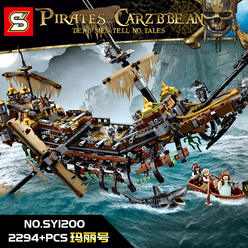 SY 1200 Pirate Caribbean Ship Silent Mary Building Blocks Compatible LegoingLYs 71042 LP 16042 Toy For Child Birthday Gifts