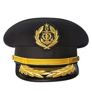 Tripulação Da marinha Preto Branco Navio Cap Chapéus de Marinheiro Cosplay Performance de Palco Capitão Chapéu Militar Para Mulheres Adultas Dos Homens