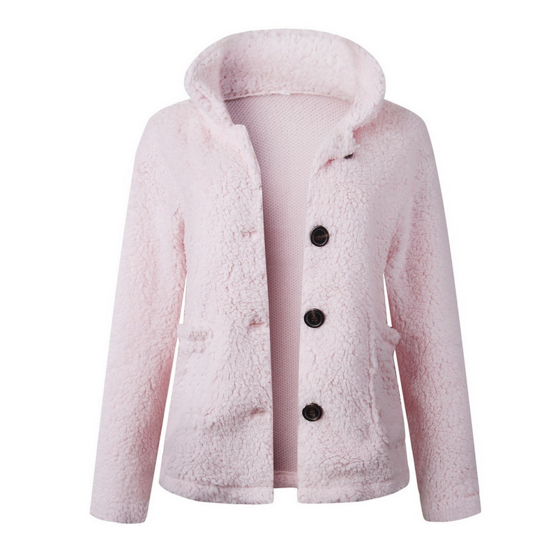 HEFLASHOR Women's Plush coat autumn winter Women Button Jacket Casual Warm turndown collar fur Outwear Mid-Length Woolen jackets 17