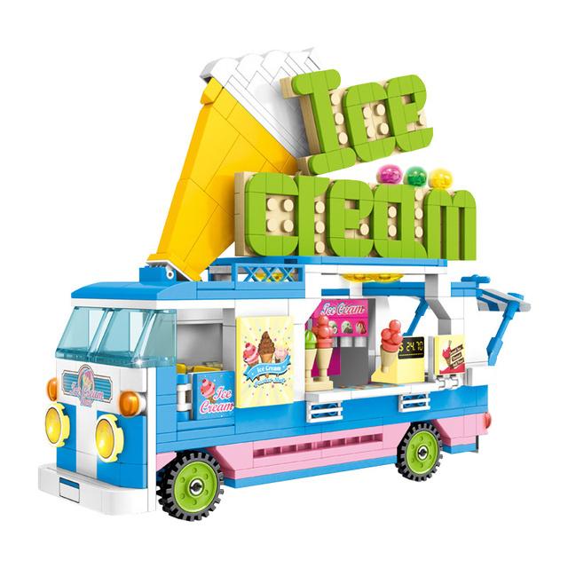 453pcs City Ice Cream Car Model Building Blocks Sets Friends Camping Car Figures Bricks Enlightenment Toys for Girls