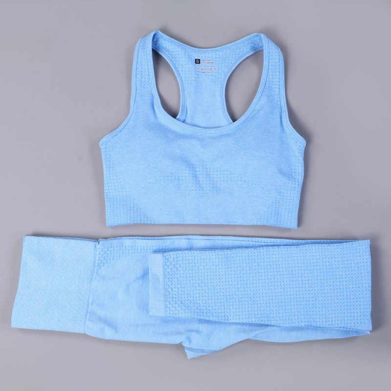 Costumes de sport Sexy ensemble de Yoga sans couture femmes vêtements de Fitness vêtements de sport femme Leggings de gymnastique rembourré soutien-gorge de sport à bretelles
